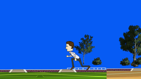 Cartoon Businessman Running: Loop + Matte Animation