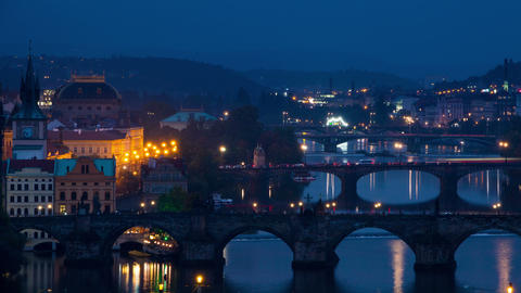 Evening Bridges in Prague. Time Lapse 4K Footage