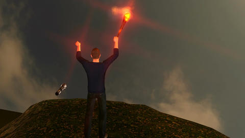 Man Cheering on Mountain Summit with torch: Looping Animation