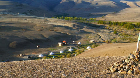 nomadic yurt camp in Altay mountains, zoom in Footage