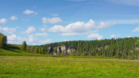 Landscape in South Ural mountains, timelapse Footage