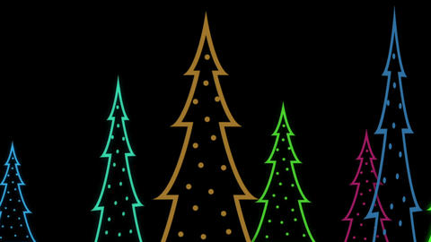 Graphic Neon Christmas trees Animated background Stock Video Footage