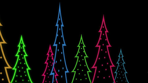 Graphic Neon Christmas trees Animated background Animation