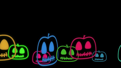 Halloween Animated background with cute little neon pumpkins Animation