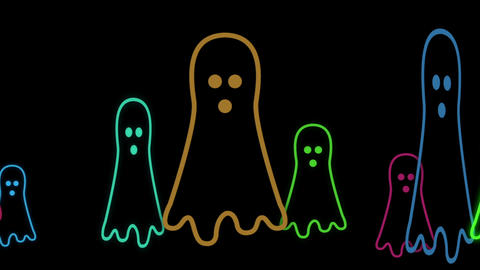 Halloween Animated Background With Cute Little Neon ghost... Stock Video Footage
