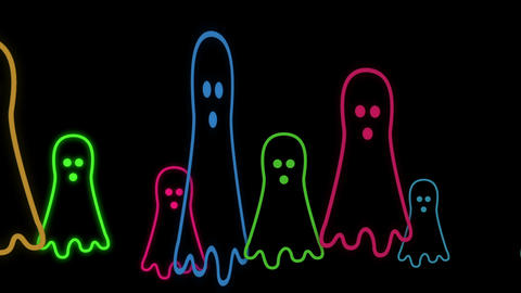 Halloween Animated Background With Cute Little Neon ghost Stock Animation Animation