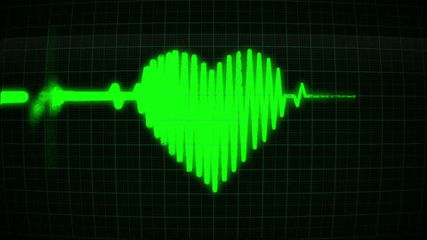 The cardiogram in the shape of a green heart, loop Animation