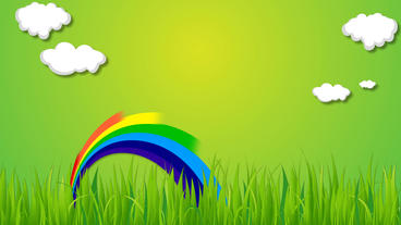 Nature rainbow and cloud animation on green background with some grass After Effects Project