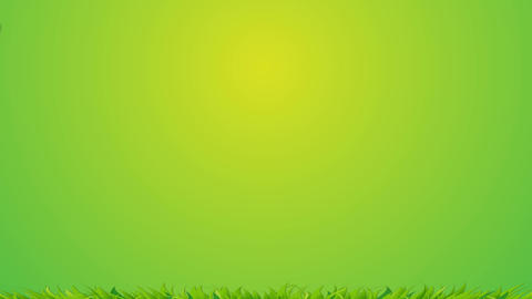 Nature rainbow and cloud animation on green background with some grass - 1