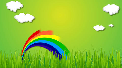 Nature rainbow and cloud animation on green background with some grass After Effects Template