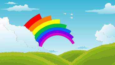 Landscape with floating Clouds , flying birds and Rainbow Animation After Effects Project