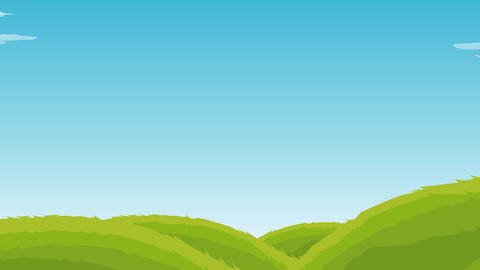 Landscape with floating Clouds , flying birds and Rainbow Animation - 3