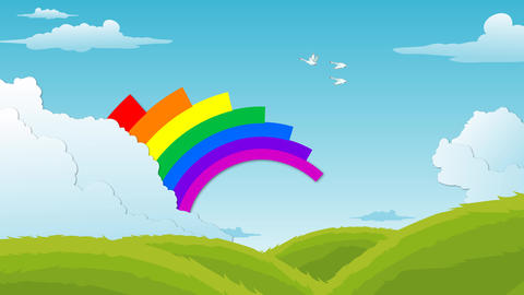 Landscape with floating Clouds , flying birds and Rainbow Animation After Effects Template