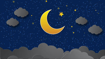 Moon Clouds animation in the night scene with stars twinkling After Effects Project