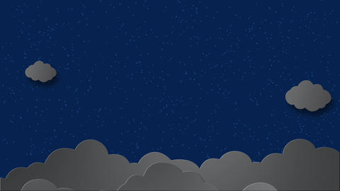 Moon Clouds animation in the night scene with stars twinkling - 3