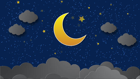 Moon Clouds animation in the night scene with stars twinkling After Effects Template