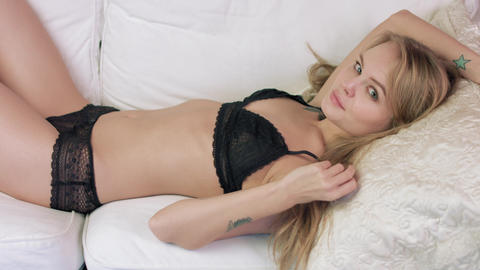 Sexy Woman In Seductive Black Lingerie stock footage