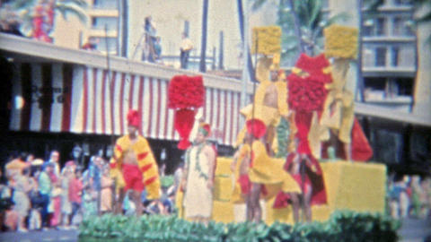 1971: Scenes from Hawaiian parade of floats and military men Footage