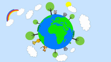 Earth showing food chain with tree popup on it and cartoon cloud,rainbow emiting After Effects Project