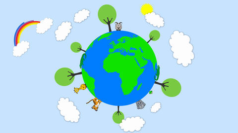 Earth showing food chain with tree popup on it and cartoon cloud,rainbow emiting After Effects Template