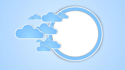 Cartoon Clouds entering into Portal and sun rising After Effects Template