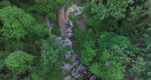 descending aerial above huay kaew forest Footage