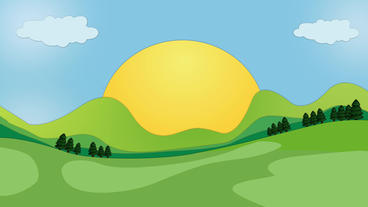 Nature Green Landscape View including sun rising with tree popup and cartoon clo After Effects Template
