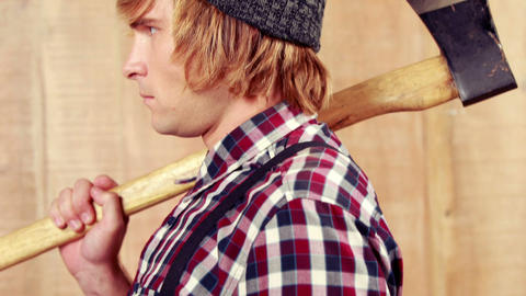 Hipster dressed as a lumberjack Stock Video Footage