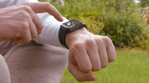 Close up of man using a smart watch Footage