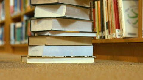 A stack of library books Footage
