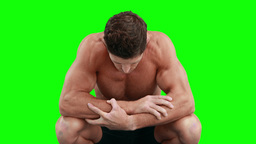 Disappointed muscular man looking down Footage