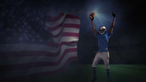 American football player gesturing victory Footage