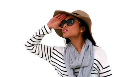 Pretty hipster wearing sunglasses and hat Footage