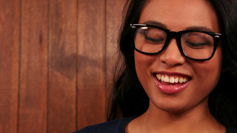 Pretty smiling hipster using tablet Stock Video Footage