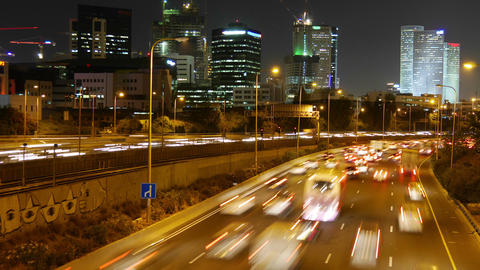 City Traffic - Night Time lapse. Seamless. Tel - Aviv Footage