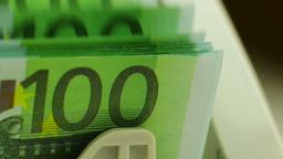Euro Banknotes In The Counting Machine stock footage