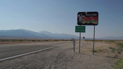 Welcome to Nevada Sign Along Side of Road Footage