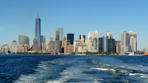 Lower manhattan skyline view from moving staten island ferry Footage
