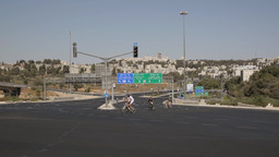 The almost empty Road Begin crossing Golomb in Jerusalem on Yom Kippur Footage