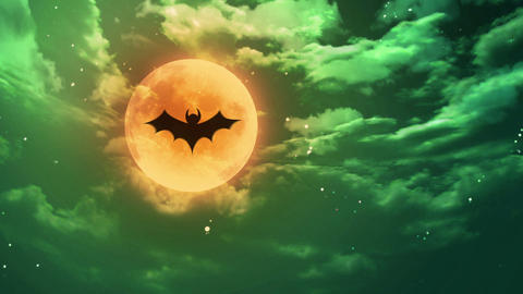 bat Halloween moon green horrible sky Animation