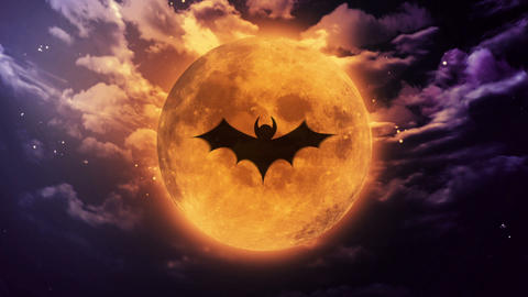 bat Large Halloween moon Animation