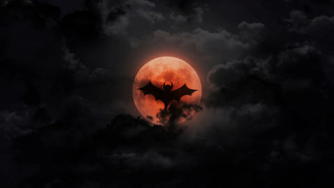 bat dark large moon and thunder Animation