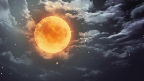 pumpkin Halloween moon and dark sky Animation