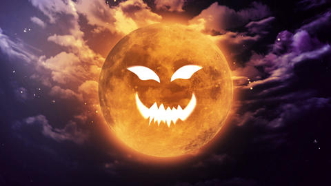 pumpkin face Large Halloween moon Animation