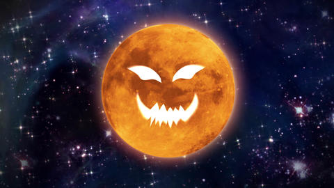 pumpkin face moon in space large Animation
