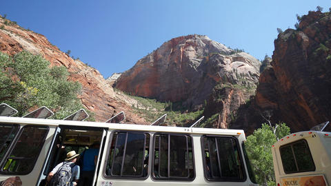 Bus Scene in Zion National Park Footage