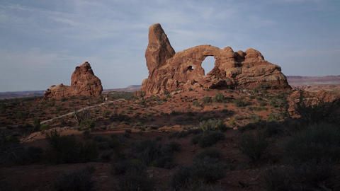 Dolly Shot of Turret Arch in Arches National Park Live Action