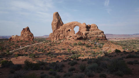 Crane Shot of Turret Arch in Arches National Park Live Action