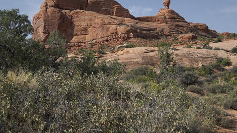 Pan Up of a Rock Formation in Arches National Park Live Action