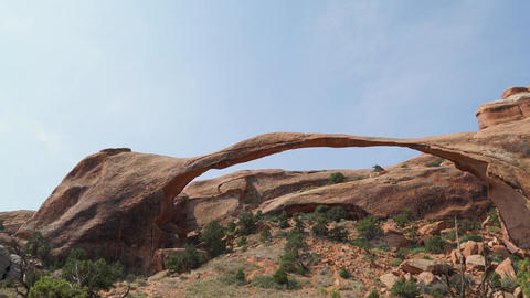 Pan Shot of Landscape Arch in Arches National Park Footage